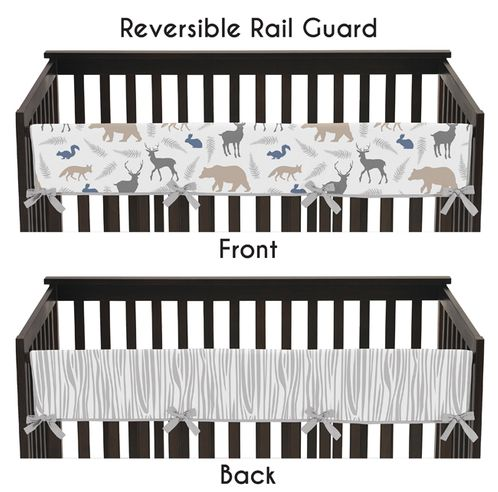 Baby Crib Long Rail Guard Cover for Woodland Animals by Sweet Jojo Designs - Click to enlarge
