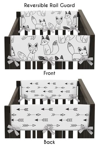 Baby Crib Side Rail Guard Covers for Black and White Fox and Arrow Collection by Sweet Jojo Designs - Set of 2 - Click to enlarge