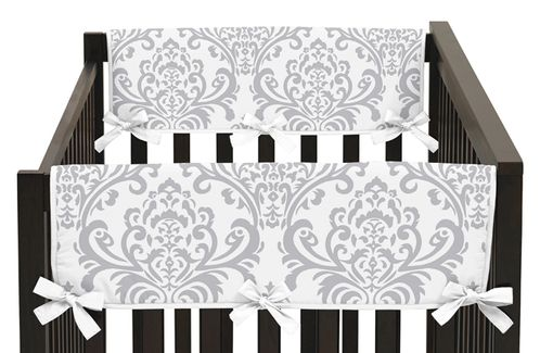 Baby Crib Side Rail Guard Covers for Blue and Gray Avery Collection by Sweet Jojo Designs - Set of 2 - Click to enlarge