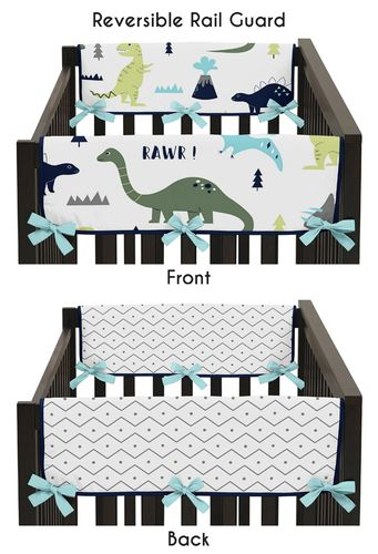 Baby Crib Side Rail Guard Covers for Blue and Green Mod Dinosaur by Sweet Jojo Designs - Set of 2 - Click to enlarge