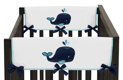 Baby Crib Side Rail Guard Covers for Blue Whale Collection by Sweet Jojo Designs - Set of 2 - Click to enlarge
