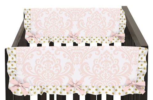 Baby Crib Side Rail Guard Covers for Blush Pink, Gold and White Amelia Collection by Sweet Jojo Designs - Set of 2 - Click to enlarge