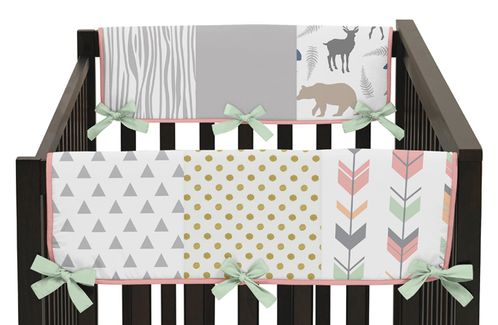 Baby Crib Side Rail Guard Covers for Coral, Mint and Grey Woodsy Collection by Sweet Jojo Designs - Set of 2 - Click to enlarge