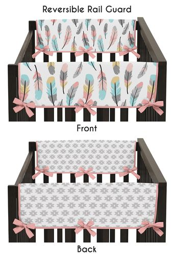 Baby Crib Side Rail Guard Covers for Feather Collection by Sweet Jojo Designs - Set of 2 - Click to enlarge