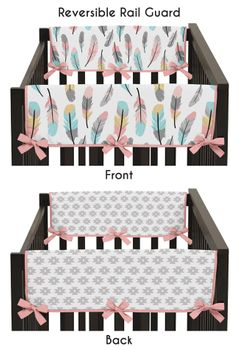 Baby Crib Side Rail Guard Covers for Feather Collection by Sweet Jojo Designs - Set of 2