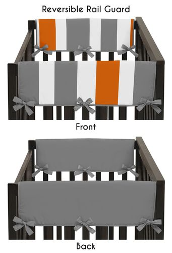 Baby Crib Side Rail Guard Covers for Gray and Orange Stripe Collection by Sweet Jojo Designs - Set of 2 - Click to enlarge