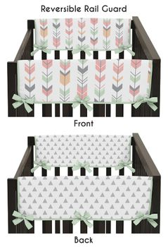 Baby Crib Side Rail Guard Covers for Grey, Coral and Mint Woodland Arrow Collection by Sweet Jojo Designs - Set of 2