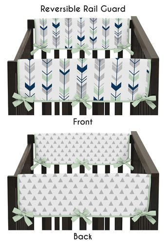 Baby Crib Side Rail Guard Covers for Grey, Navy Blue and Mint Woodland Arrow Collection by Sweet Jojo Designs - Set of 2 - Click to enlarge