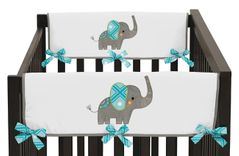 Baby Crib Side Rail Guard Covers for Mod Elephant Collection by Sweet Jojo Designs - Set of 2