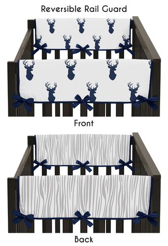 Baby Crib Side Rail Guard Covers for Navy and White Woodland Deer Collection by Sweet Jojo Designs - Set of 2 - Click to enlarge