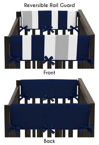 Baby Crib Side Rail Guard Covers for Navy Blue and Gray Stripe Collection by Sweet Jojo Designs - Set of 2 - Click to enlarge