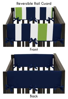 Baby Crib Side Rail Guard Covers for Navy Blue and Lime Stripe Collection by Sweet Jojo Designs - Set of 2