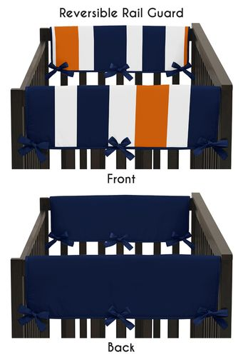 Baby Crib Side Rail Guard Covers for Navy Blue and Orange Stripe Collection by Sweet Jojo Designs - Set of 2 - Click to enlarge