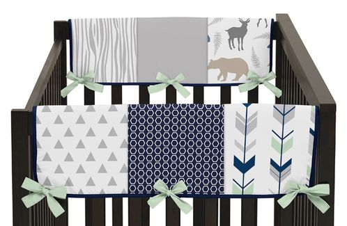 Baby Crib Side Rail Guard Covers for Navy, Mint and Grey Woodsy Collection by Sweet Jojo Designs - Set of 2 - Click to enlarge