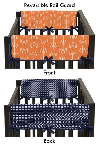 Baby Crib Side Rail Guard Covers for Orange and Navy Arrow Collection by Sweet Jojo Designs - Set of 2 - Click to enlarge