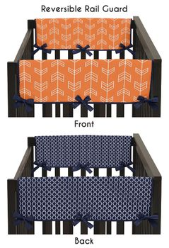 Baby Crib Side Rail Guard Covers for Orange and Navy Arrow Collection by Sweet Jojo Designs - Set of 2