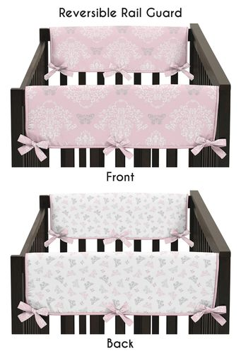 Baby Crib Side Rail Guard Covers for Pink and Gray Alexa Butterfly Collection by Sweet Jojo Designs - Set of 2 - Click to enlarge