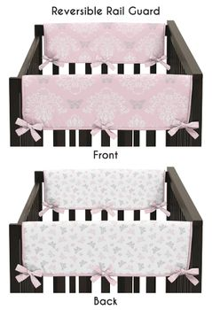 Baby Crib Side Rail Guard Covers for Pink and Gray Alexa Butterfly Collection by Sweet Jojo Designs - Set of 2