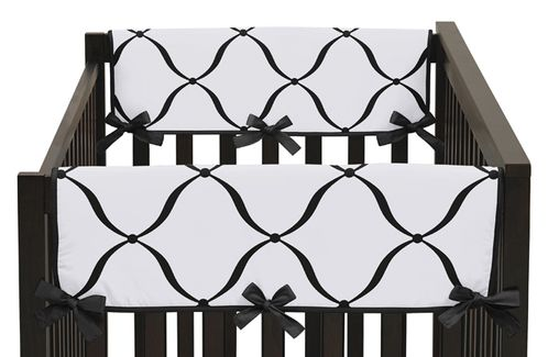 Baby Crib Side Rail Guard Covers for Purple, Black and White Princess Collection by Sweet Jojo Designs - Set of 2 - Click to enlarge