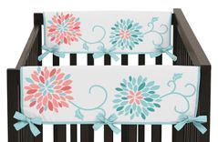 Baby Crib Side Rail Guard Covers for Turquoise and Coral Emma Collection by Sweet Jojo Designs - Set of 2