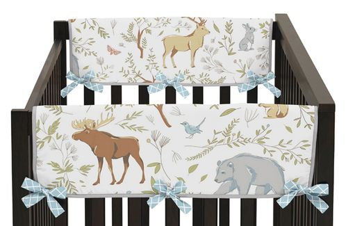 Baby Crib Side Rail Guard Covers for Woodland Animal Toile Collection by Sweet Jojo Designs - Set of 2 - Click to enlarge