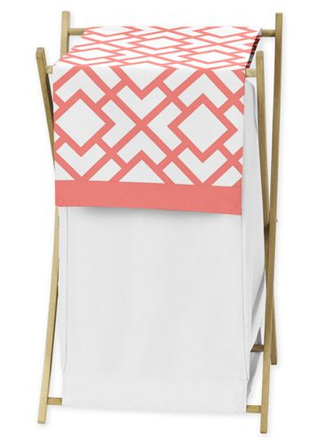 Baby/Kids Clothes Laundry Hamper for Coral and White Diamond Bedding - Click to enlarge