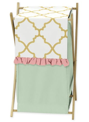 Baby/Kids Clothes Laundry Hamper for Gold, Mint, Coral and White Ava Bedding - Click to enlarge