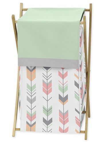Baby/Kids Clothes Laundry Hamper for Grey, Coral and Mint Woodland Arrow Bedding by Sweet Jojo Designs - Click to enlarge