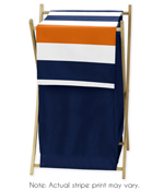 Baby/Kids Clothes Laundry Hamper for Navy Blue and Orange Stripe Bedding
