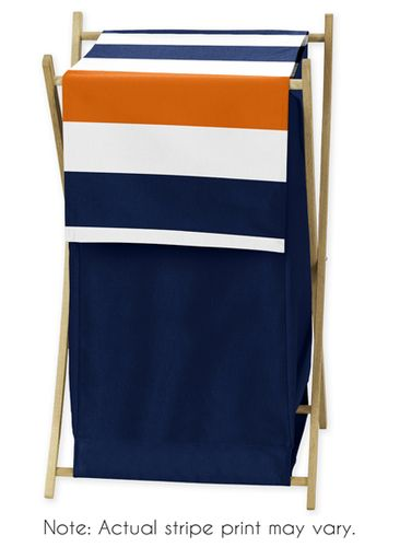 Baby/Kids Clothes Laundry Hamper for Navy Blue and Orange Stripe Bedding - Click to enlarge