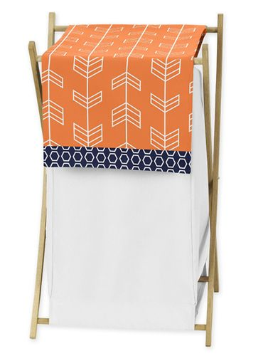 Baby/Kids Clothes Laundry Hamper for Orange and Navy Arrow Bedding - Click to enlarge