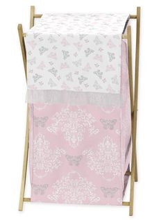 Baby/Kids Clothes Laundry Hamper for Pink and Gray Alexa Butterfly Bedding