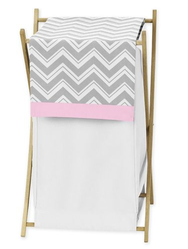 Baby/Kids Clothes Laundry Hamper for Pink and Gray Chevron Zig Zag Bedding by Sweet Jojo Designs - Click to enlarge