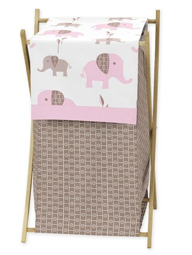 Baby/Kids Clothes Laundry Hamper for Pink and Taupe Mod Elephant Bedding by Sweet Jojo Designs - Click to enlarge