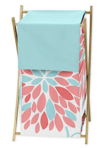 Baby/Kids Clothes Laundry Hamper for Turquoise and Coral Emma Bedding - Click to enlarge