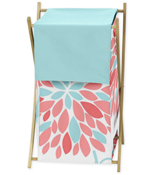 Baby/Kids Clothes Laundry Hamper for Turquoise and Coral Emma Bedding