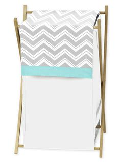 Baby/Kids Clothes Laundry Hamper for Turquoise and Gray Chevron Zig Zag Bedding by Sweet Jojo Designs