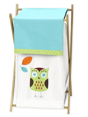 Baby/Kids Clothes Laundry Hamper for Turquoise and Lime Hooty Owl Bedding by Sweet Jojo Designs - Click to enlarge
