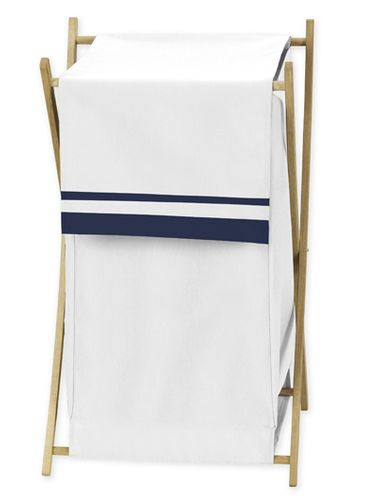 Baby/Kids Clothes Laundry Hamper for White and Navy Hotel Bedding by Sweet Jojo Designs - Click to enlarge