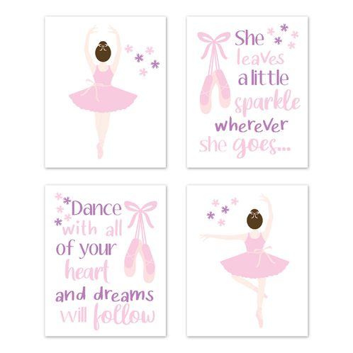 Ballerina Dancer Wall Art Prints Room Decor for Baby, Nursery, and Kids by Sweet Jojo Designs - Set of 4 - Pink and Purple Lavender Ballet Tutu Dance - Click to enlarge