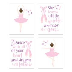 Ballerina Dancer Wall Art Prints Room Decor for Baby, Nursery, and Kids by Sweet Jojo Designs - Set of 4 - Pink and Purple Lavender Ballet Tutu Dance