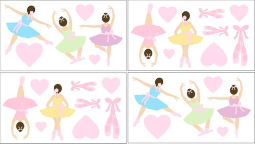 Ballet Dancer Ballerina Baby and Kids Wall Decal Stickers - Set of 4 Sheets - Click to enlarge