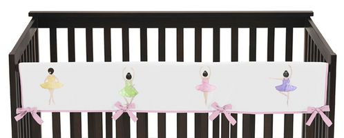 Ballet Dancer Ballerina Baby Crib Long Rail Guard Cover by Sweet Jojo Designs - Click to enlarge