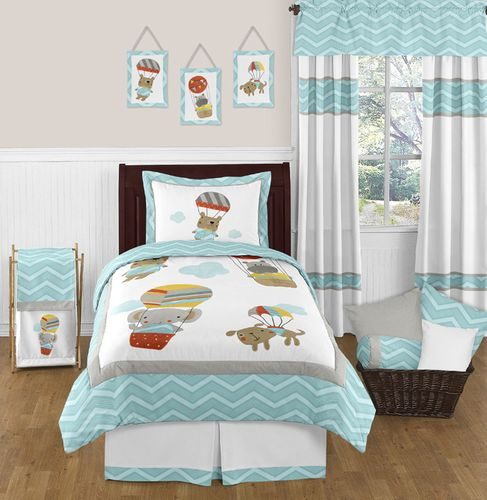 Balloon Buddies Chevron 3pc Full / Queen Bedding Set by Sweet Jojo Designs - Click to enlarge