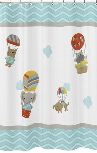 Balloon Buddies Kids Bathroom Fabric Bath Shower Curtain by Sweet Jojo Designs - Click to enlarge