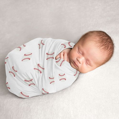 Baseball Baby Boy Swaddle Blanket Jersey Stretch Knit for Newborn or Infant Receiving Security by Sweet Jojo Designs - Red and White Americana Sports - Click to enlarge