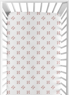 Baseball Boy Jersey Stretch Knit Baby Fitted Crib Sheet for Soft Toddler Bed Nursery by Sweet Jojo Designs - Red and White Americana Sports