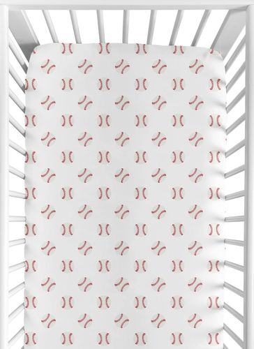 Baseball Boy Jersey Stretch Knit Baby Fitted Crib Sheet for Soft Toddler Bed Nursery by Sweet Jojo Designs - Red and White Americana Sports - Click to enlarge