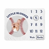 Baseball Boy Milestone Blanket Monthly Newborn First Year Growth Mat Baby Shower Gift Memory Keepsake Picture by Sweet Jojo Designs - Red White and Blue Americana Sports Little Slugger