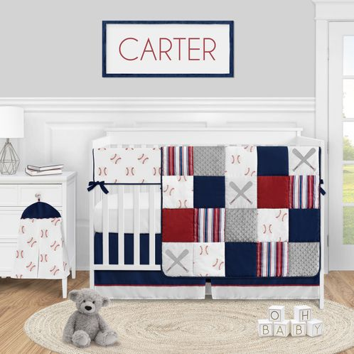 Baseball Sports Baby Boy Nursery Crib Bedding Set by Sweet Jojo Designs - 5 pieces - Red White and Blue Americana Stripe - Click to enlarge